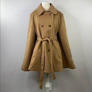 French connection brown flannel cape, extra-large